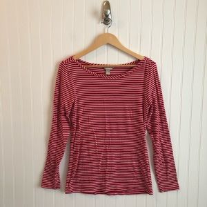 Banana Republic Red White Striped Long Sleeve Tee